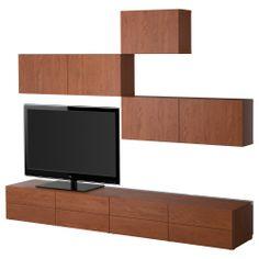 BESTÅ TV storage combination - medium brown - IKEA
