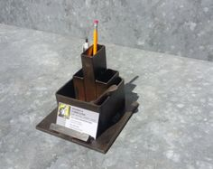 desk organizer. pencil and business card holder. by freshweld