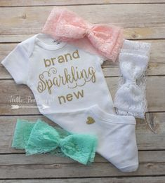Lace bow headbands & Gold Brand Sparkling New bodysuit -Gold glitter Coming Home outfit - Newborn Onesie - newborn outfit - New baby onesie