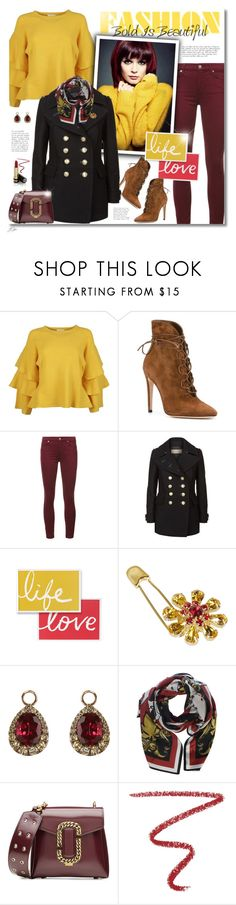 """Yellow Sweater"" by jgee67 ❤ liked on Polyvore featuring Edward Achour, Gianvito Rossi, 7 For All Mankind, Burberry, Dolce&Gabbana, Annoushka, Dsquared2, Marc Jacobs, NARS Cosmetics and Gucci"