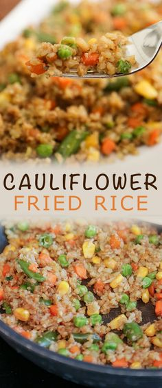 If you love Chinese fried rice, but don't enjoy the carb count that comes with it, you'll love this easy Cauliflower Fried Rice recipe. It takes few ingredients, can be ready in minutes and is loaded with vegetables. Best Side Dishes, Healthy Side Dishes, Vegetable Side Dishes, Vegetable Recipes, Main Dishes, Vegetarian Recepies, Healthy Dinner Recipes, Cooking Recipes, Healthy Meals