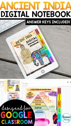 Ancient India Interactive Notebook {Digital Version} Digital Interactive Notebook using Google Slides! Graphic organizers that students simply type in! Paperless, colorful & fun activities for students! Vocabulary, graphic organizers, and images included Biology Interactive Notebook, Social Studies Notebook, 6th Grade Social Studies, Teaching Social Studies, Student Teaching, Interactive Notebooks, Teaching Activities, Teaching Resources, Teaching Ideas