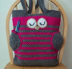 Ravelry: Sleepy Owl Tote Bag pattern by Karla Sandoval Crochet Shell Stitch, Basic Crochet Stitches, Crochet Basics, Bead Crochet, Crochet Handbags, Crochet Purses, Crochet Tote, Cute Diaper Bags, Crochet Purse Patterns