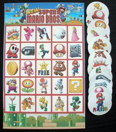 mario birthday games | Super Mario Bros Brothers Bingo Birthday Party Game by KidsLoveEm