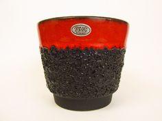Vintage Keramik Übertopf / rot / Fat Lava / Jopeko   West German Pottery   60er von ShabbRockRepublic auf Etsy