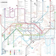 The architect Jug Cerovic had fun with the subway stations of all around the world. From New York to Paris, through Tokyo, he tidied up the subway by clearing t London Underground Tube Map, London Tube Map, London Map, London Places, Transport Map, Public Transport, Train Map, System Map, Subway Map