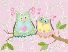 @rosenberryrooms is offering $20 OFF your purchase! Share the news and save!  Whimsical Owl Pair on Vines Canvas Reproduction #rosenberryrooms