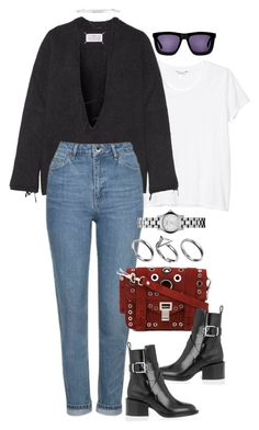 """""""Untitled #4092"""" by lily-tubman ❤ liked on Polyvore featuring Monki, Maison Margiela, Topshop, Proenza Schouler, Jil Sander, Pilgrim, Marc by Marc Jacobs, Eddie Borgo and Karen Walker"""