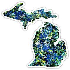 Michigan Art Sticker by NeverWonderStudio on Etsy, $6.00