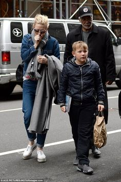 Wrapped up: The Australian actress was wrapped up in a gray scarf as she arrived at the Et...