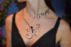 Necklace, butterfly, silver jewelry, copper jewelry, jewelry set, shamballa beads