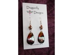 Glass and Pearl Sterling Dangles. Dragonfly Designs.