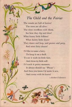 """""""The Child and the Fairies"""" Fairy Quotes, Kids Poems, Fairy Pictures, Home Pictures, Vintage Fairies, Flower Fairies, Fairy Art, Pretty Words, Nursery Rhymes"""