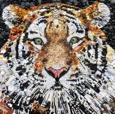 Tiger in buttons by Jane Perkins.