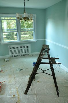 One of the colors I have, maybe too much yellow. Do have the chair rail though.. Benjamin Moore Artic Blue Paint
