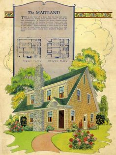 Similar to a Dutch Colonial, but with steep gable roof.