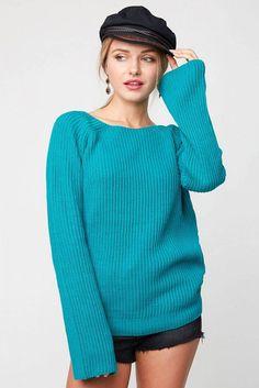 Long Sleeve Open Back Knit Sweater