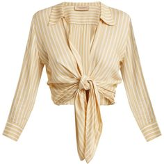 Adriana Degreas Striped self-tie blouse ($349) ❤ liked on Polyvore featuring tops, blouses, satin top, deep v neck blouse, tie blouse, ruching tops and stripe blouse