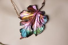 Copper plated Real grape leaf, metal necklace, electroformed leaf, leaf jewelry, electroforming, unique custom jewerly