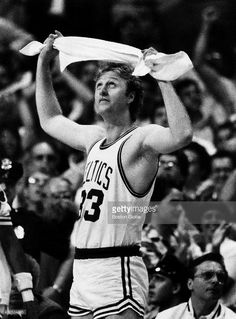 Boston Celtics player Larry Bird during playoff game 7 against the Los Angeles Lakers at Boston Garden on June 12, 1984.
