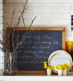 Chalkboards (Other schoolhouse-inspired items are another trend- think flashcards as art, vintage school books, etc.)