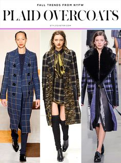 The 12 Best Fall 2016 Trends From New York Fashion Week | StyleCaster  Victoria Beckham; Rachel Zoe; Calvin Klein Plaid Overcoats  Fall runways usually bring more tartan than we can handle, but this year, labels like Calvin Klein and Victoria Beckham approached plaid in a much cleaner, subtler, muted way, and used the print on everything from outerwear to cocktail dresses.