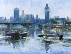 London by Night by Gleb Goloubetski  Oil on Canvas, 100cmx130cm