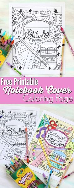 Back to School Notebook Cover – Printable Coloring Page — This printable coloring page is perfect for your kids to color just for fun or to create personalized notebook covers for their brand new binders and notebooks. Binder Covers Free, School Binder Covers, School Book Covers, Science Notebook Cover, Notebook Covers, Journal Covers, Diy Notebook Cover For School, Notebook Binder, School Coloring Pages