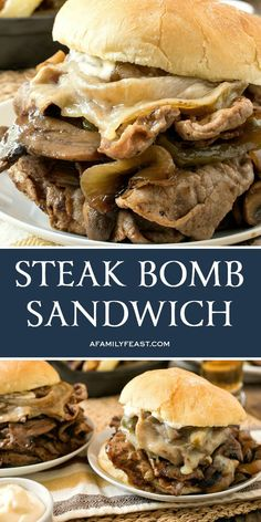 A Steak Bomb Sandwich is a lip-smacking, fully-loaded steak and cheese sandwich . A Steak Bomb Sandwich is a lip-smacking, fully-loaded steak and cheese sandwich that is sure to ple Roast Beef Sandwich, Soup And Sandwich, Deli Sandwiches, Vegetarian Sandwiches, Steak Recipes, Cooking Recipes, Steak Sandwich Recipes, Game Recipes, Recipes
