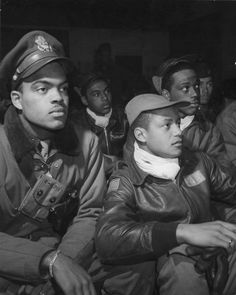 Pilots of the 322nd Fighter Group in their briefing tent at Ramitelli-World War II: Tuskegee Airmen