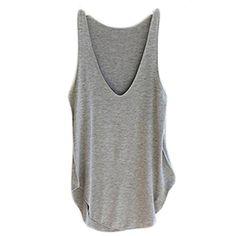 Perman Women's Sexy Summer Sleeveless V-Neck Candy Vest Loose Tank Tops T-shirt (Gray)