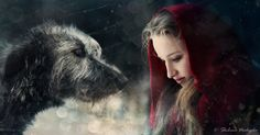 this seems magical to me with the girl looking luminous and the irish wolfhound