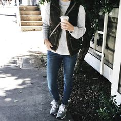 Camo, oversized sweater, new balances and denim