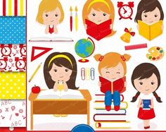 80% OFF SALE Back to school clipart, school clipart, girl clipart, pencil clipart, clipart images, commercial use - CL111