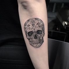Black and grey ink calavera by Elisabeth Markov