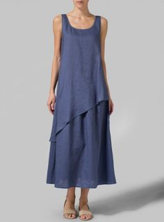 Linen Blue Layered Long Dress