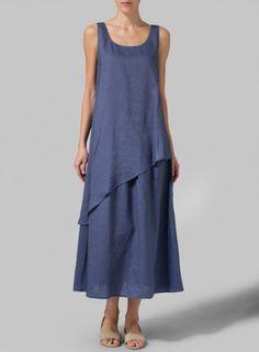 Linen Blue Layered Long Dress