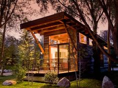 Tiny Houses featuring a lofty rolling luxury cabin of about 400 sf. image via countryliving.com