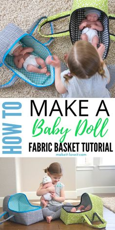 Make these fun and creative baby doll baskets! This is a fabric baby basket that you will sew up. I share different  designs to consider doing. Such a fun gift for kids to play with. #babydoll #basket #carseat #forkids #babydollcraft #accessory #sewing #fun