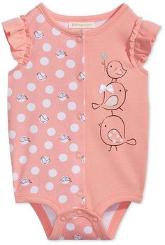 Look at this sweet little pink romper for under $10! The little birds are so sweet and the frilly sleeves are just perfect. #clothes #cute #baby #toddler #ad