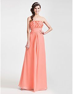 Sheath+/+Column+Strapless+Floor+Length+Chiffon+Evening+Dress+with+Flower+by+TS+Couture®+–+USD+$+225.00