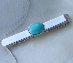 Men's Turquoise and Silver Tie Slide £28.00
