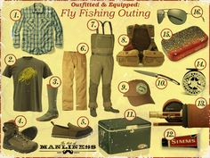 How to outfit and equip yourself for a fly fishing outing, including recommendations for flies, waders, boots, etc.
