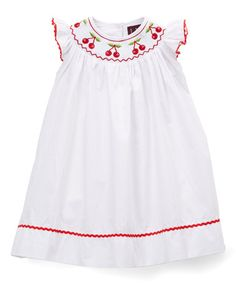 c2206e067273 Lil Cactus White & Red Cherry Smocked Bishop Dress - Infant & Toddler