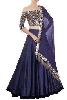 Buy blue taffeta silk with precipitant lace work & resham work designer lehenga choli online.This set is features a blue blouse in silk fully embellished with mirror work, embroidery.It has matching blue lehenga in taffeta silk with beautiful embroide Navy Blue Lehenga, Silk Lehenga, Lengha Choli, Manish Malhotra Lehenga, Manish Malhotra Bridal, Indian Attire, Indian Ethnic Wear, Ethnic Dress, Senior Prom