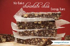 Try these easy No-Bake Chocolate Chia Seed Energy Bars for you next healthy snack! High in antioxidants, essentials fats, protein and long-lasting energy!