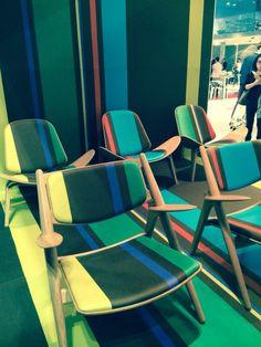 At the Milan fair Paul Smith stripes on Carl Hansen chairs