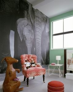 Elephant Mural in Children's Room - Hudson Street Loft New York, NY - Deborah Berke & Partners Architects
