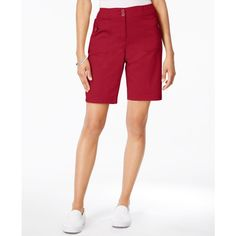 Karen Scott Ribbed-Waistband Bermuda Shorts, ($40) ❤ liked on Polyvore featuring shorts, new red amore, karen scott, red shorts, red bermuda shorts, karen scott shorts and bermuda shorts