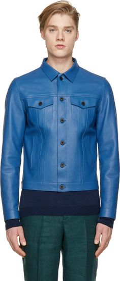 Burberry Prorsum Blue Leather Worker Jacket